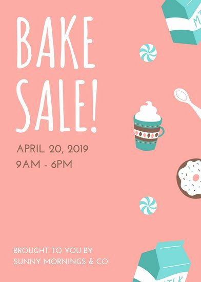 Bake Sale Flyer Templates Free Best Of Pink and Turquoise Illustrated Bake Sale Flyer Templates