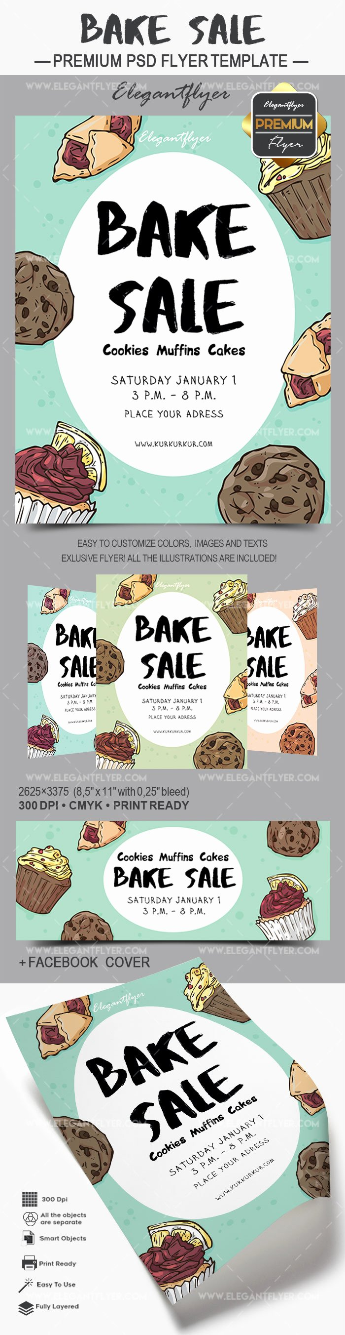 Bake Sale Flyers Templates Free Best Of Flyer for Bake Sale Cookies Muffins Cakes – by Elegantflyer