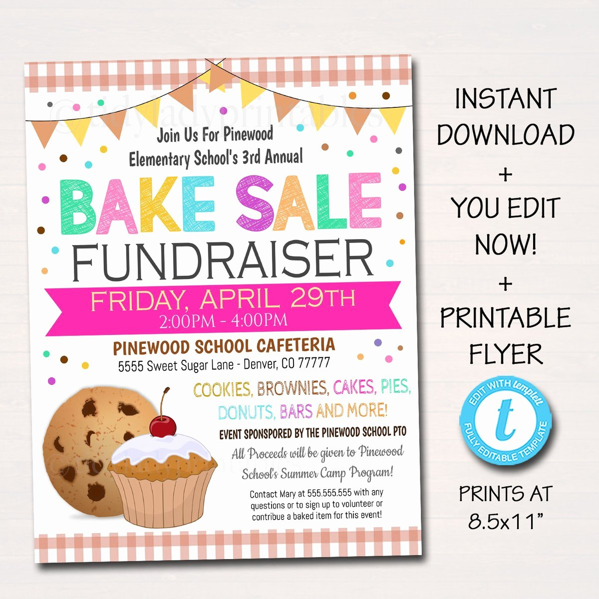 Bake Sale Fundraiser Flyer Template Awesome Editable Bake Sale Flyer Printable Pta Pto Flyer School Family Fund – Tidylady Printables