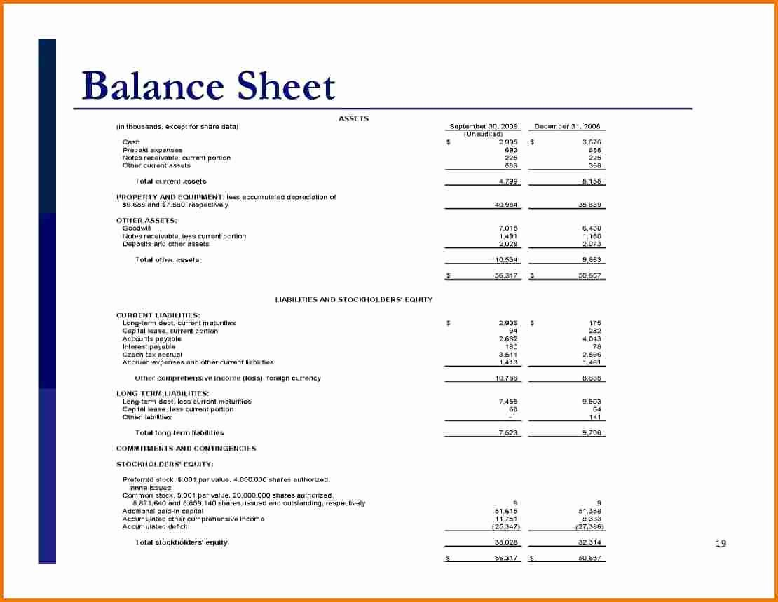 Balance Sheet Example Pdf Luxury Simple Balance Sheet Template