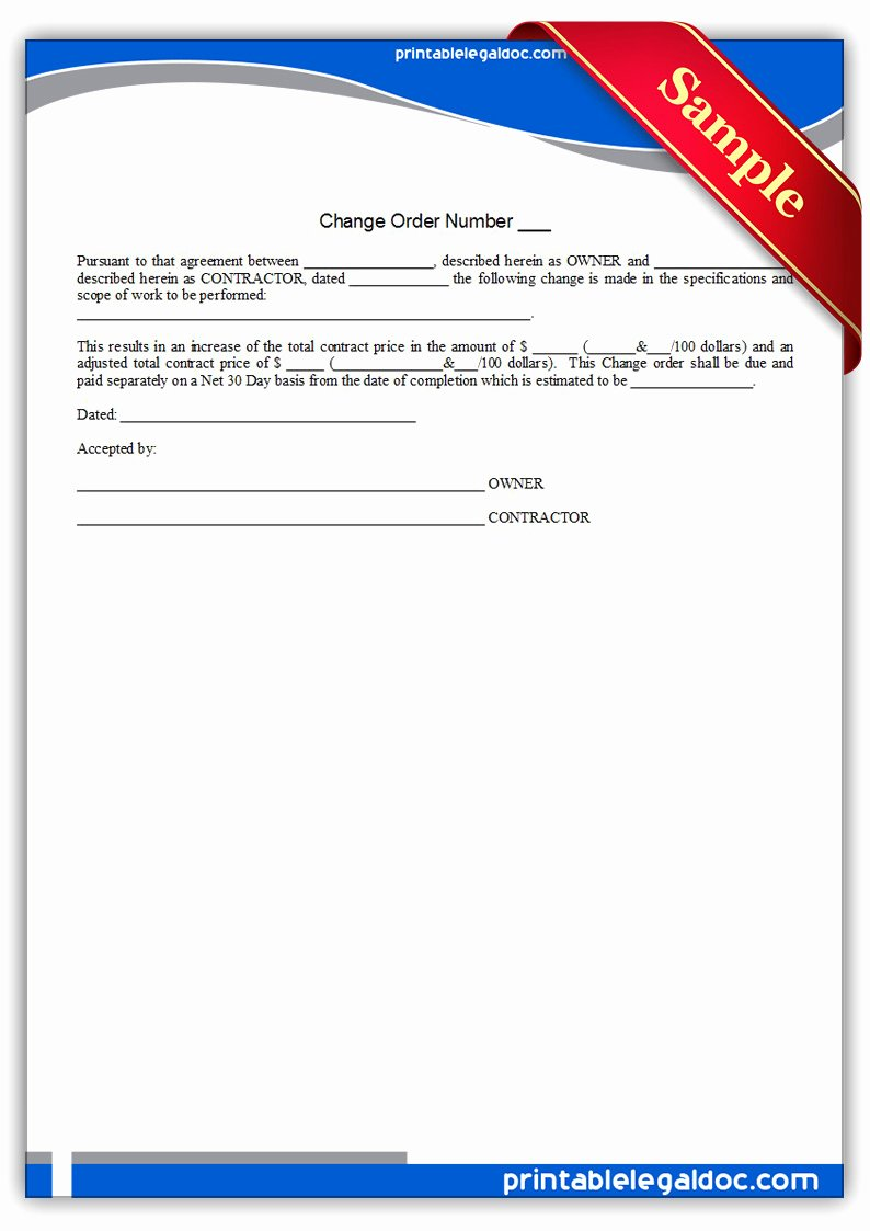 Bank Change order form Beautiful Free Printable Change order form Generic