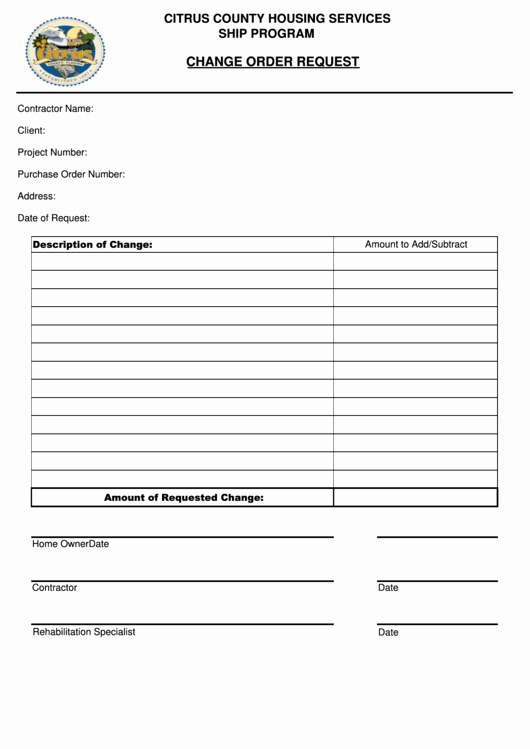Bank Change order form Luxury Change order Request form Citrus County Housing Services Ship Program Printable Pdf