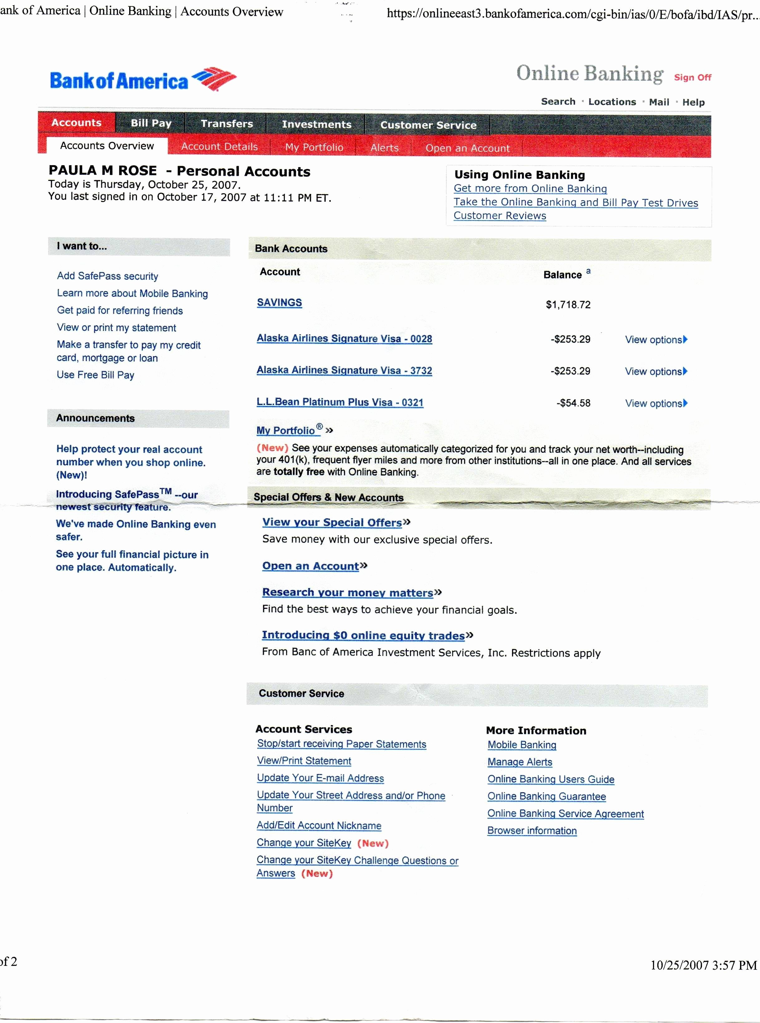 Bank Of America Statement Template Awesome Unique Bank America Statement Template Download