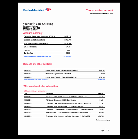 Bank Of America Statement Template Fresh Bank Statement Bank America In 2019