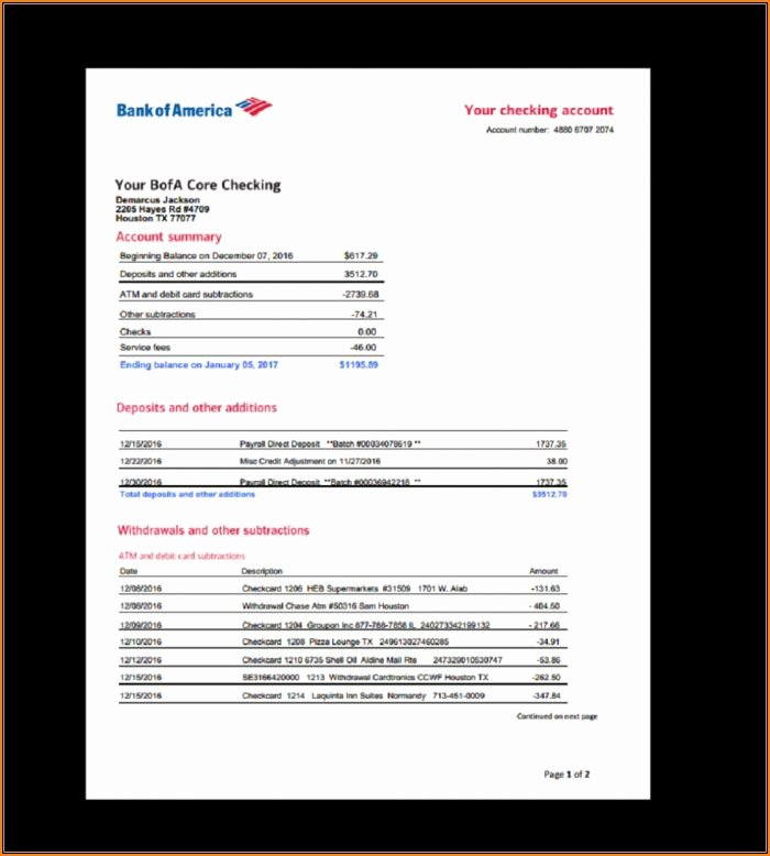 Bank Of America Statement Template Fresh Fake Wells Fargo Bank Statement Template Template 1