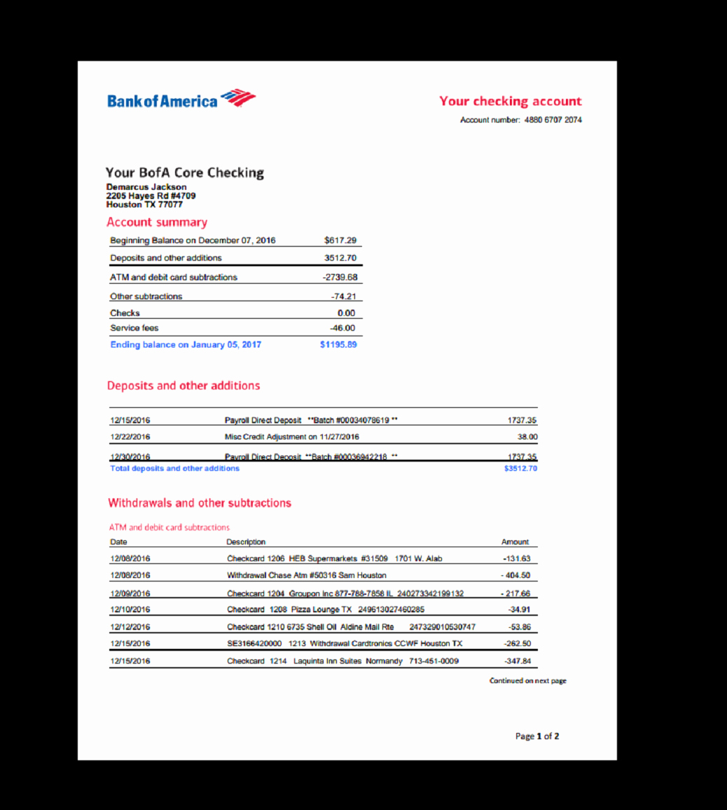 Bank Of America Statement Template New Bank Statement Bank America In 2019