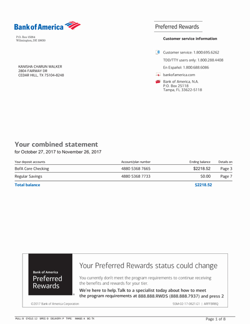 Bank Of America Statement Template New Bank Statement Bank America Mis In 2019