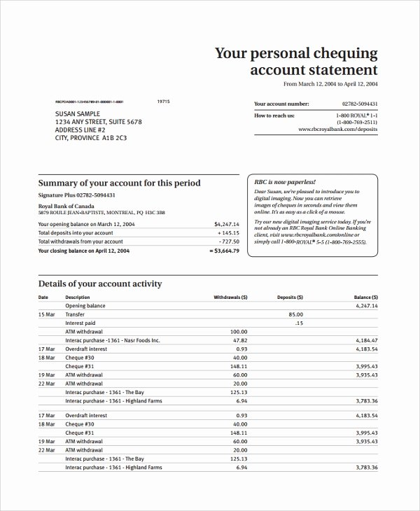 Bank Of America Statement Template Unique Bank America Monthly Statements