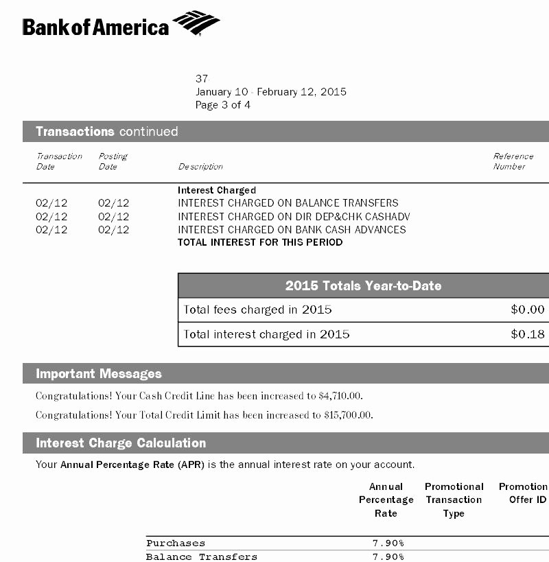 Bank Of America Statement Template Unique Bank Of America Automatic Credit Line Increase Page 4