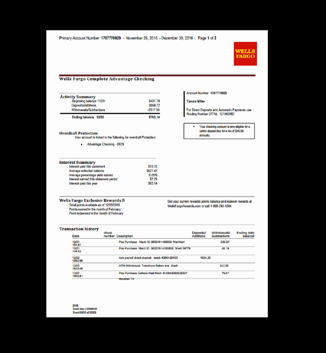 Bank Of America Statement Template Unique Bank Statement Wells Fargo Template Fake Custom