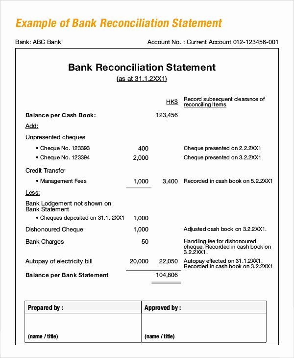 Bank Reconciliation Example Pdf Beautiful Bank Reconciliation Example 5 Free Word Pdf Documents Download