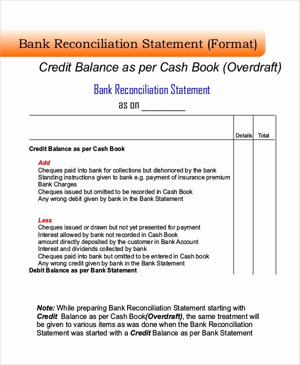 Bank Reconciliation Example Pdf Luxury Sample Bank Reconciliation 8 Examples In Word Pdf