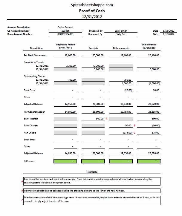 Bank Reconciliation Excel Template Beautiful Proof Of Cash Template Free Download