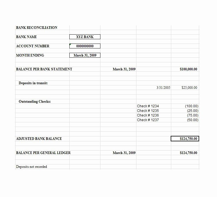 Bank Reconciliation Excel Template Best Of Bank Reconciliation Template