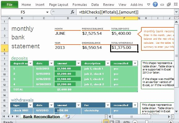 Bank Reconciliation form Excel Awesome Monthly Bank Reconciliation Template for Excel