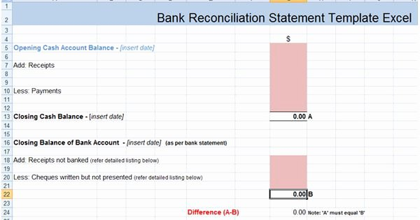 Bank Reconciliation form Excel Beautiful Bank Reconciliation Statement Excel Template Xls