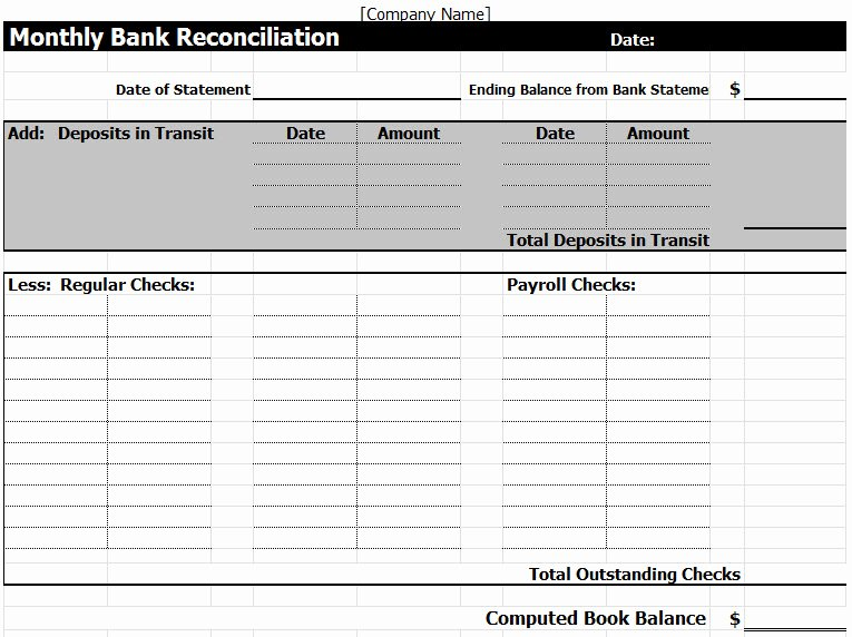 Bank Reconciliation form Excel Best Of Bank Reconciliation Template In Excel