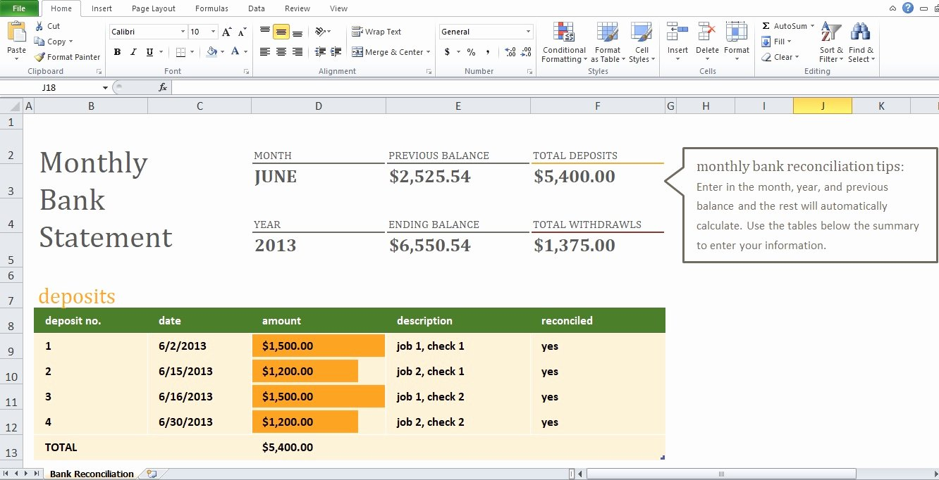 Bank Reconciliation form Excel Fresh Example Of Monthly Bank Reconciliation Statement Template Excel Tmp
