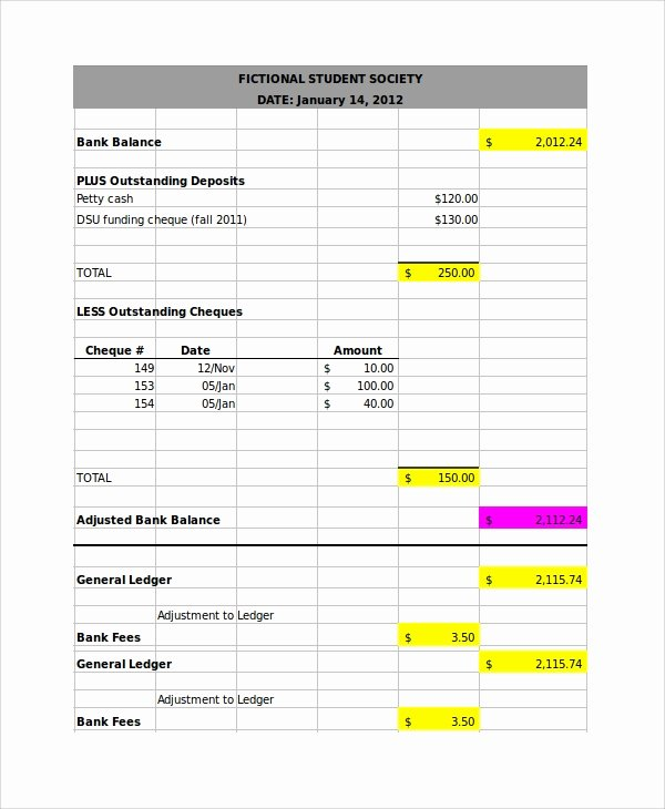 Bank Reconciliation form Excel Luxury Bank Reconciliation Example 7 Samples In Word Pdf Excel