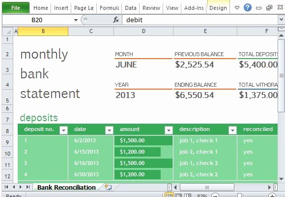 Bank Reconciliation form Excel New Monthly Bank Reconciliation Template for Excel