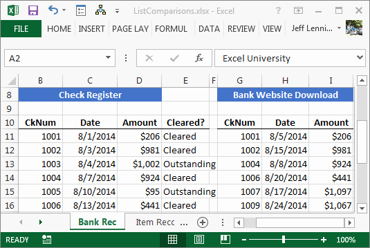 Bank Reconciliation form Excel Unique Paring Spreadsheet Lists with Ease