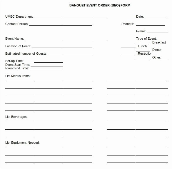 Banquet event order form Unique Banquet event order Template 2018
