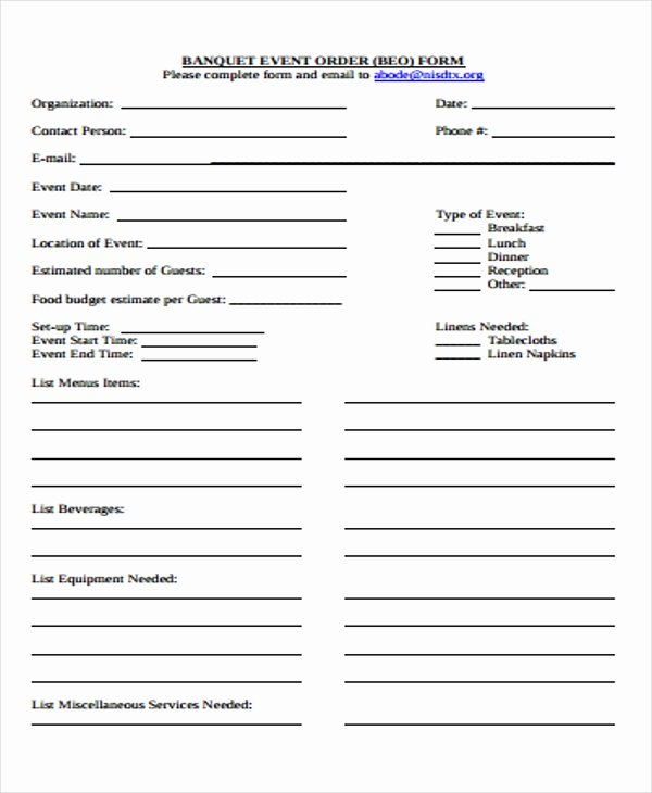 Banquet event order Template Fresh 9 event order forms Free Samples Examples format Download