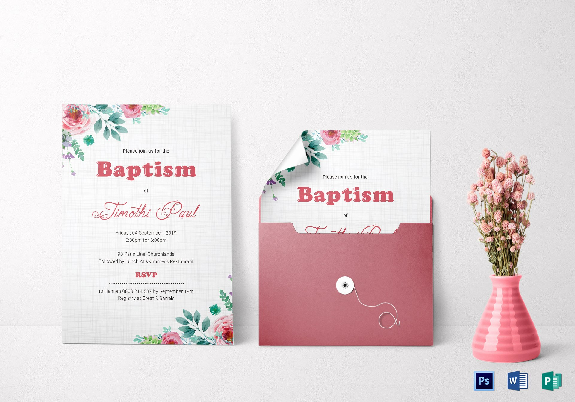 Baptism Invitation Template Microsoft Word Elegant Baptism Invitation Card Design Template In Word Psd Publisher