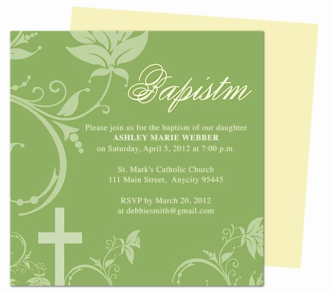 Baptism Invitation Template Microsoft Word Fresh Sage Baby Baptism Christening Invitations Templates Editable with Word Publisher Apple Iwork