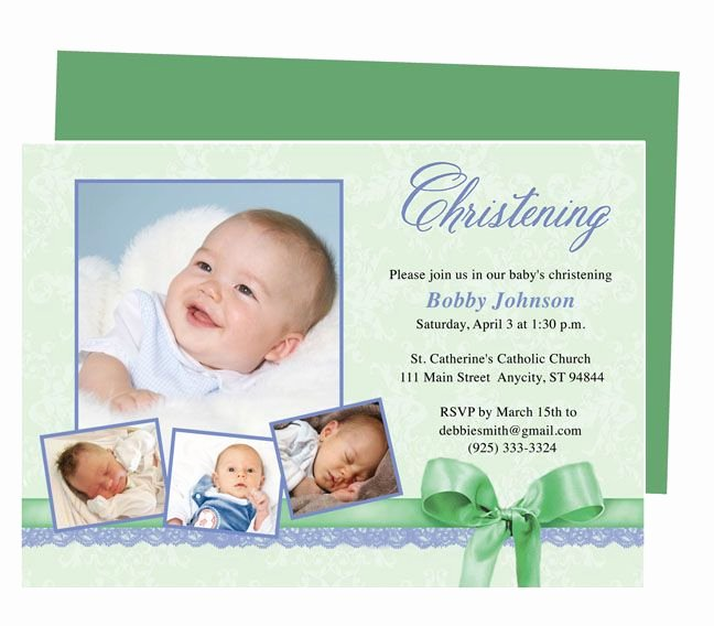 Baptism Invitation Template Microsoft Word Fresh Saint Baby Baptism Invitations Template Available In Green Shown Blue Peach Yellow Pink