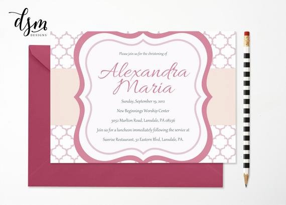 Baptism Invitation Template Microsoft Word Inspirational Baby Dedication Christening Girl Invitation Template