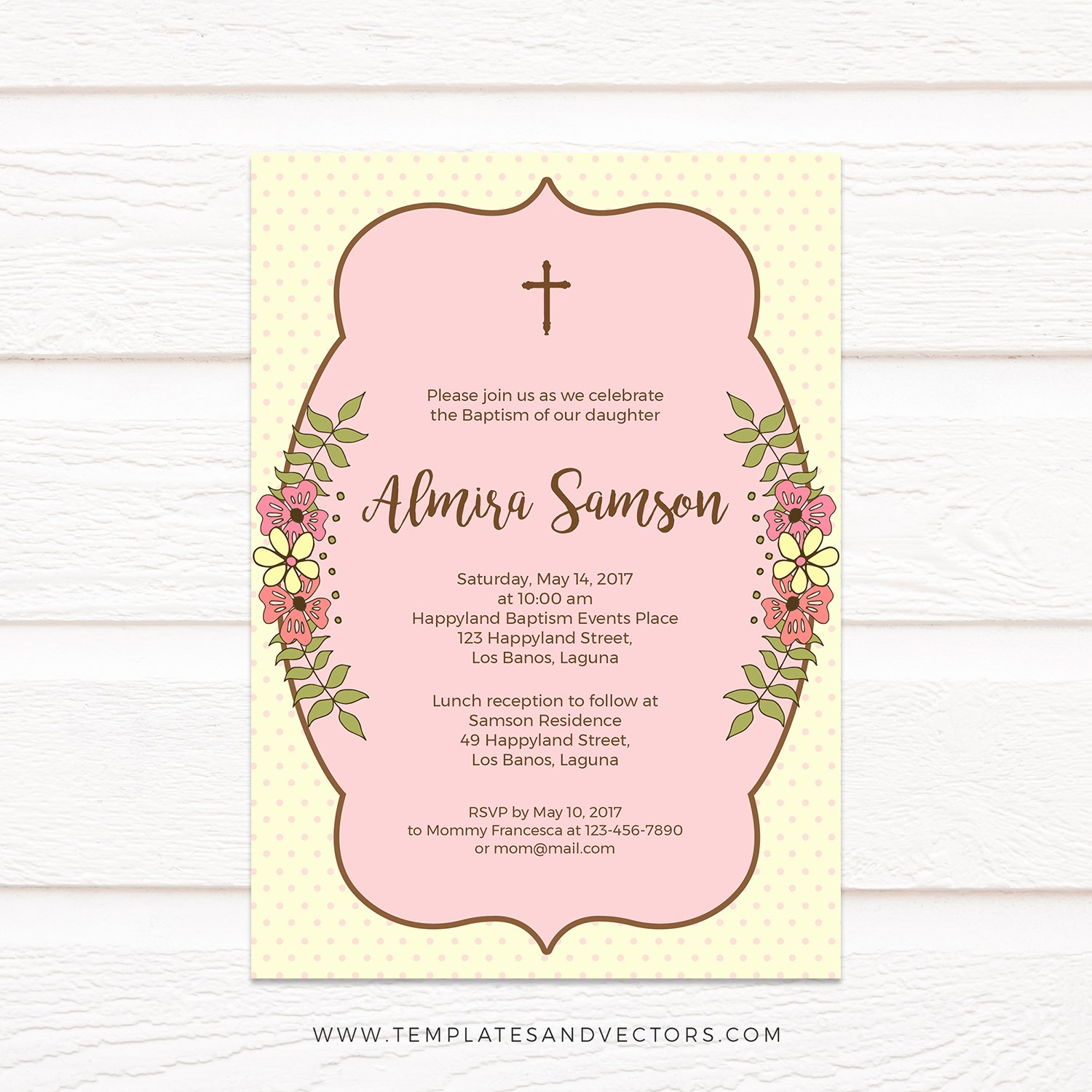 Baptism Invitation Template Microsoft Word Lovely Tvc131 Spring Flowers Baptism Invitation Diy Printable Template