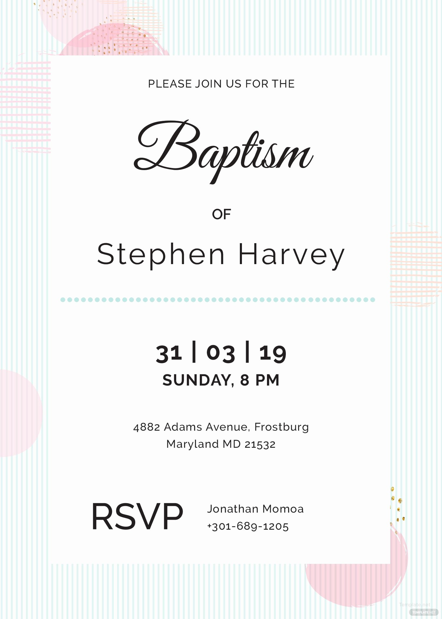 Baptism Invitation Template Microsoft Word Unique Sample Baptism Invitation Template In Adobe Shop Illustrator Microsoft Word Publisher