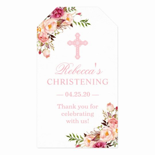 Baptism Thank You Tags Elegant Blush Pink Floral Christening Baptism Thank You Gift Tags