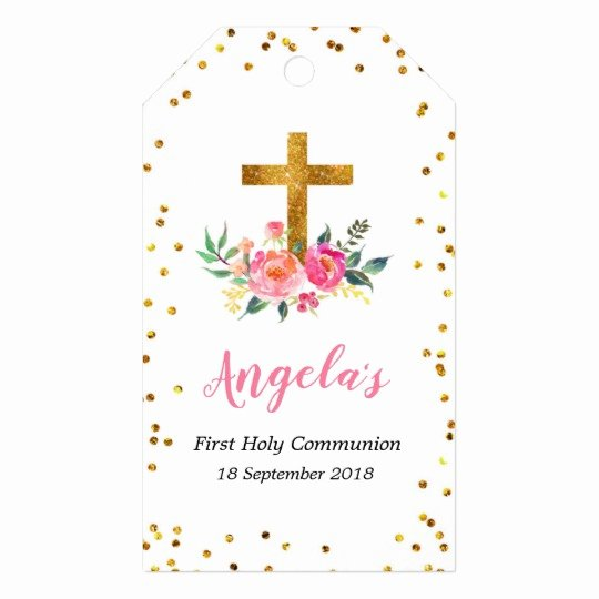Baptism Thank You Tags Elegant Pink and Gold Christening Thank You Tag