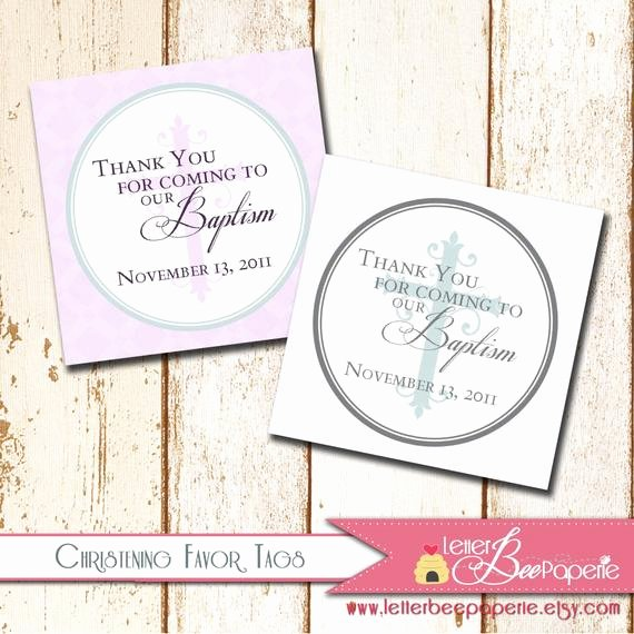 Baptism Thank You Tags Lovely Baptism Christening Thank You Favor Tags by Letterbeepaperie