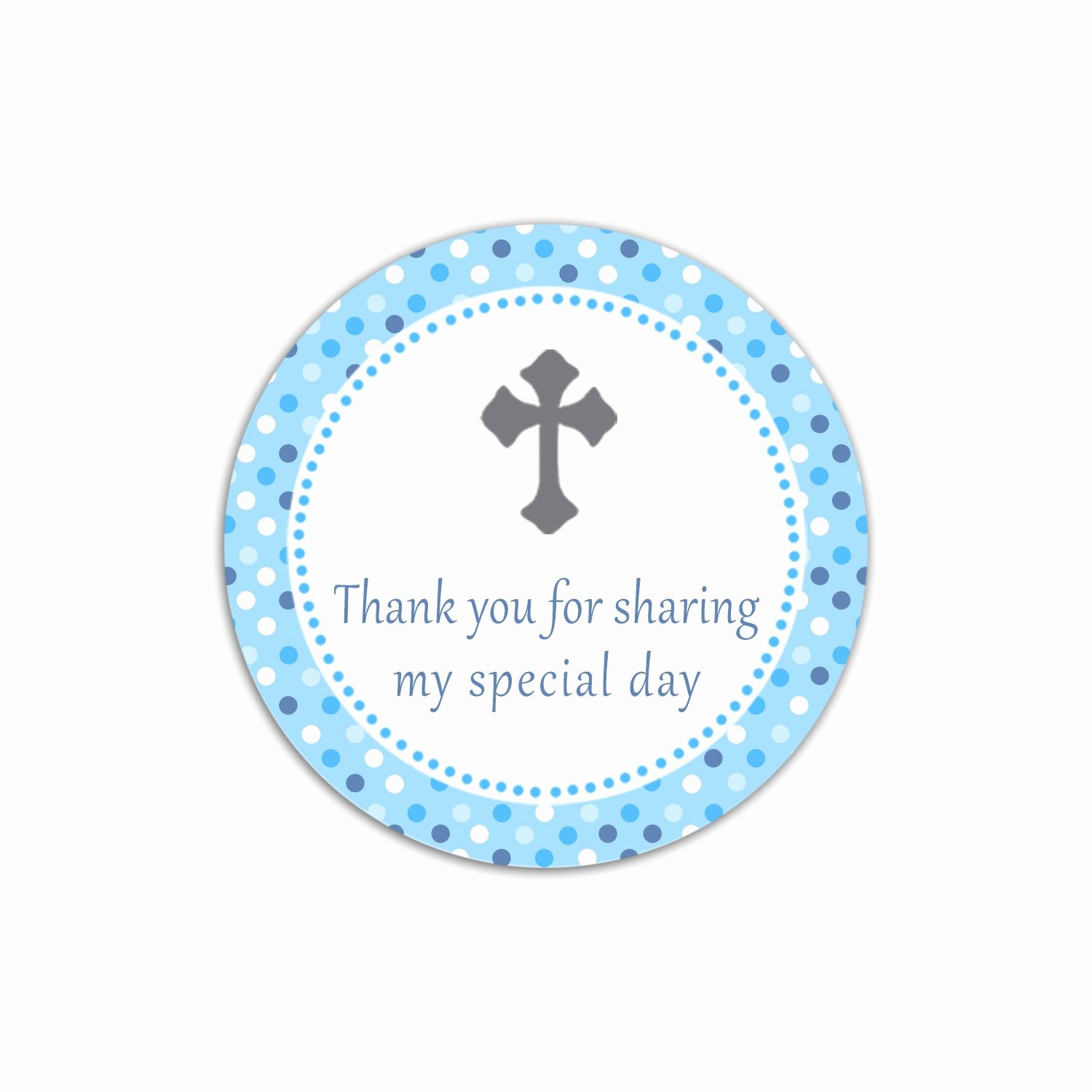 Baptism Thank You Tags Unique Instant Download Blue Polka Dots Christening Thank You Tag