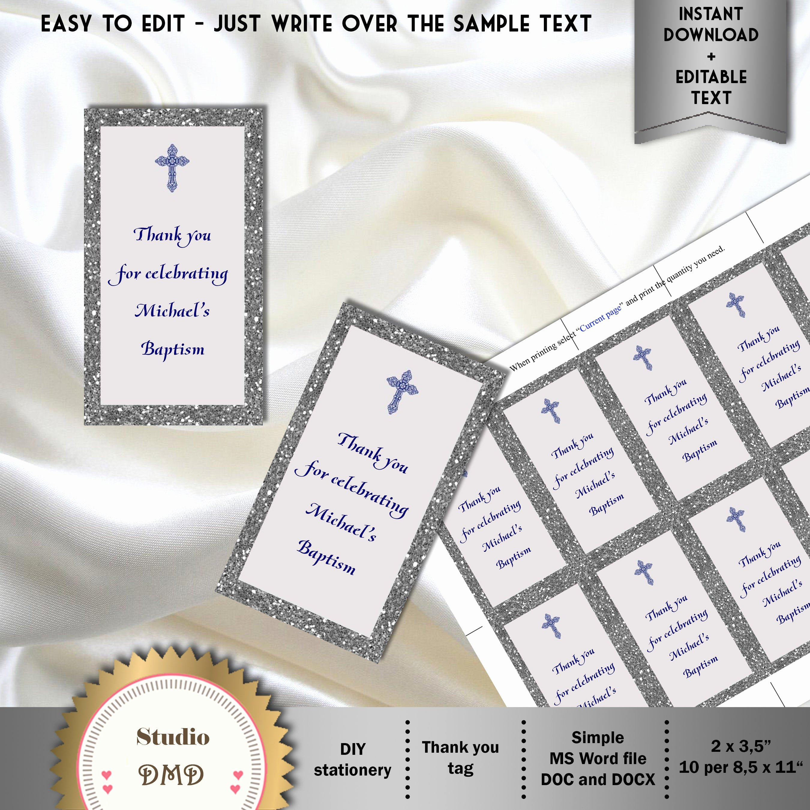 Baptism Thank You Tags Unique Printable Baptism Christening Thank You Tags Gift Bags