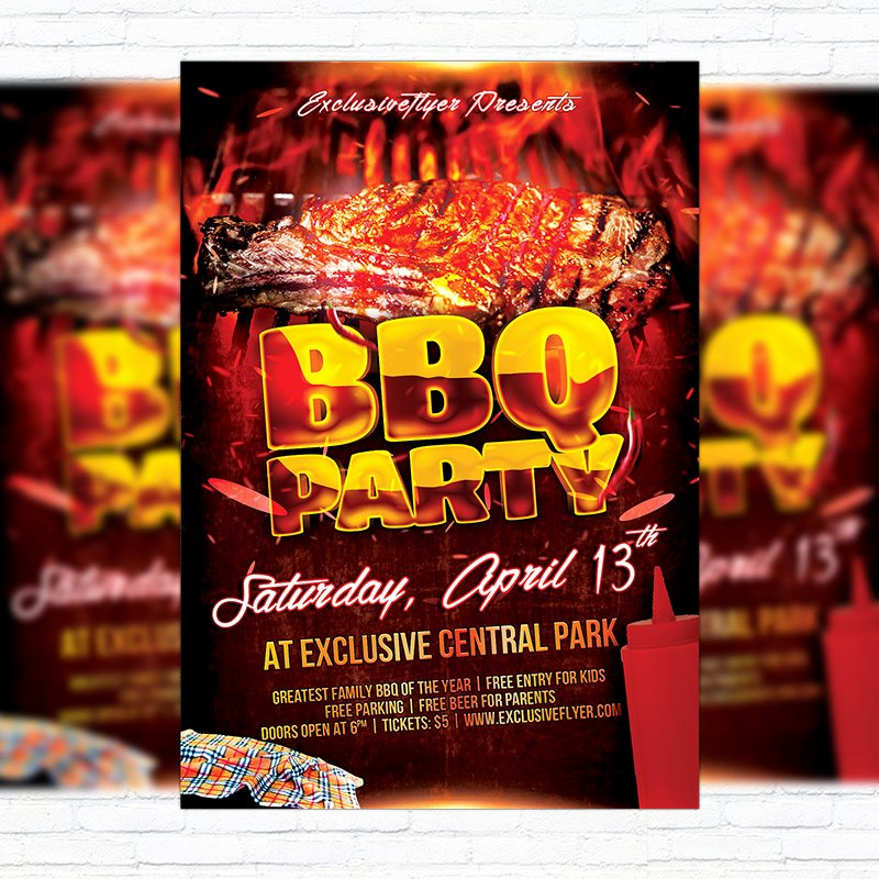 Barbeque Flyer Templates Free Best Of Bbq Party – Premium Flyer Template Cover Exclsiveflyer