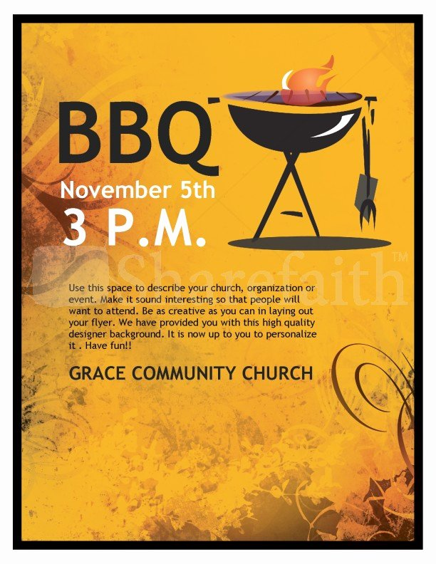 Barbeque Flyer Templates Free Elegant Bbq Church Flyer