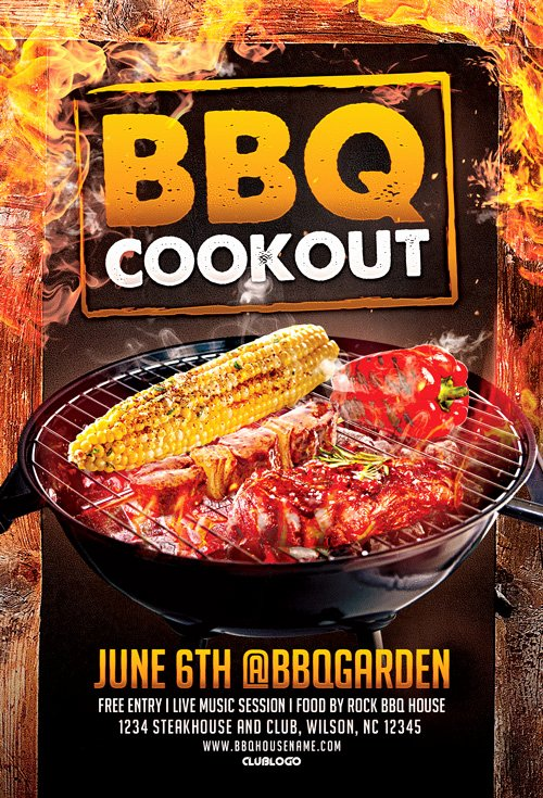 Barbeque Flyer Templates Free Fresh Bbq Cookout Flyer Template for Bbq Cookout and Gill Fest events