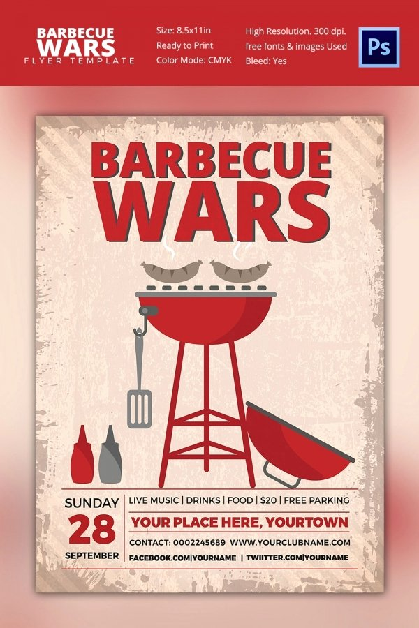 Barbeque Flyer Templates Free Inspirational 25 Bbq Flyer Template Free Word Pdf Psd Eps Indesign format Download
