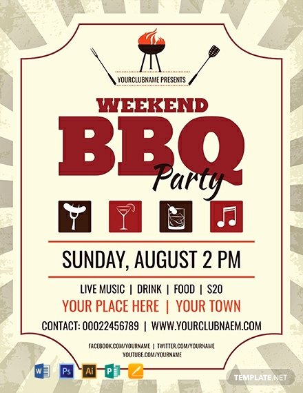 Barbeque Flyer Templates Free Unique Free Weekend Bbq Flyer Template Word Psd Apple Pages Publisher Illustrator