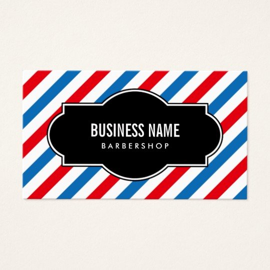 Barber Shop Business Card Awesome Barber Shop Professional Blue & Red Stripes Business Card