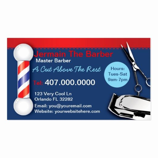 Barber Shop Business Card Beautiful Barber Shop Business Cards Barber Pole Clippers