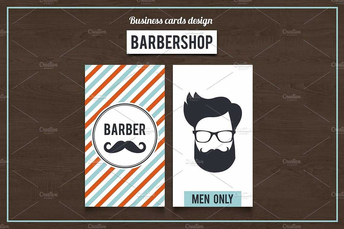 Barber Shop Business Card Beautiful Barber Shop Business Cards Set 2 Business Card Templates Creative Market