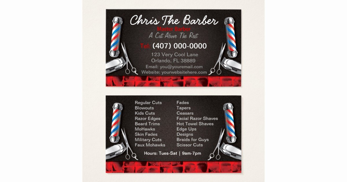Barber Shop Business Card Best Of Barbershop Business Card Barber Pole and Clippers