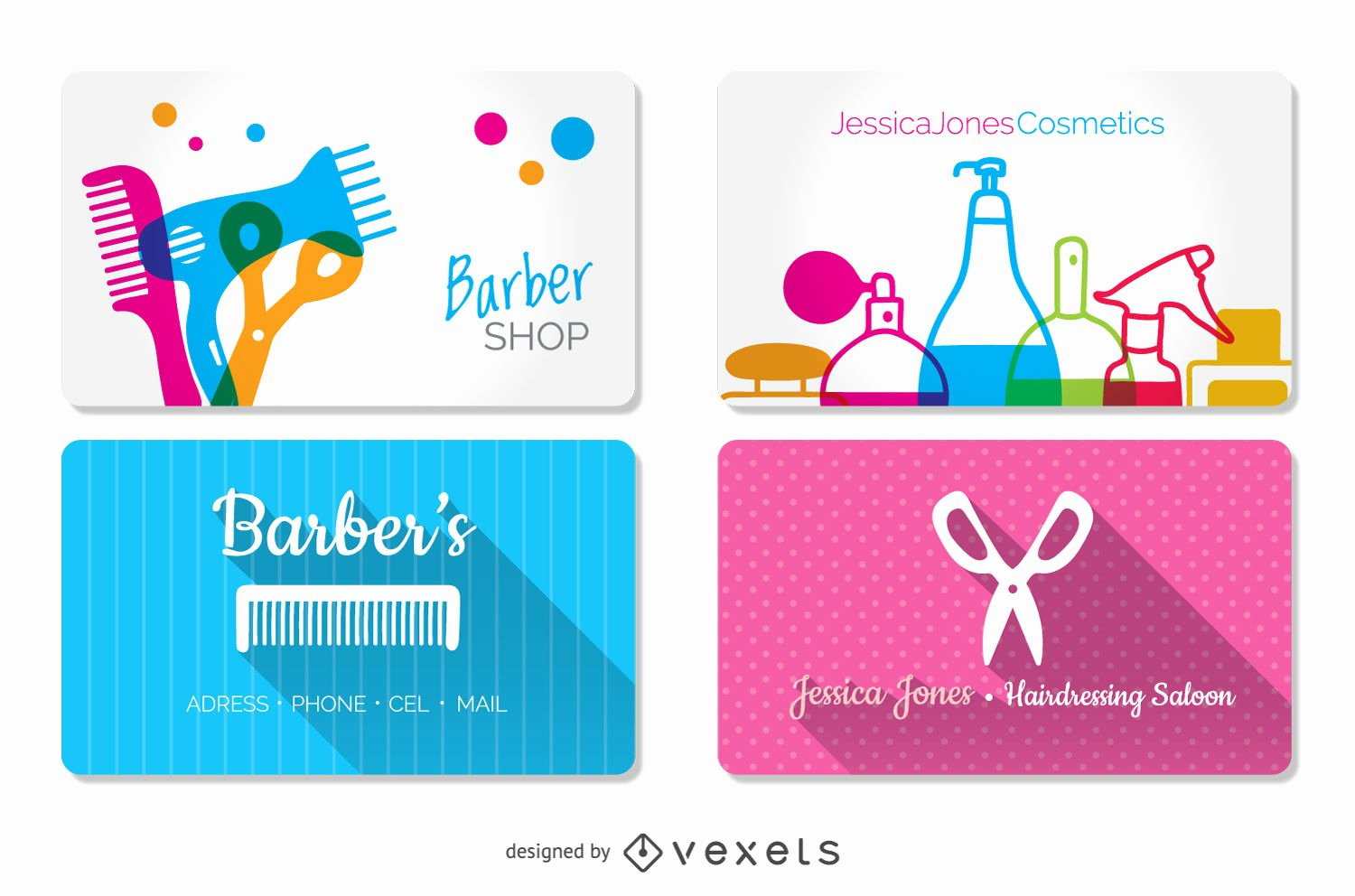 Barber Shop Business Card Elegant Hairdressing and Barber Shop Business Cards Templates Vector
