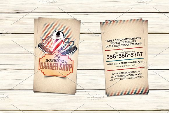 Barber Shop Business Card Luxury Barber Shop Business Card Template Business Card Templates On Creative Market