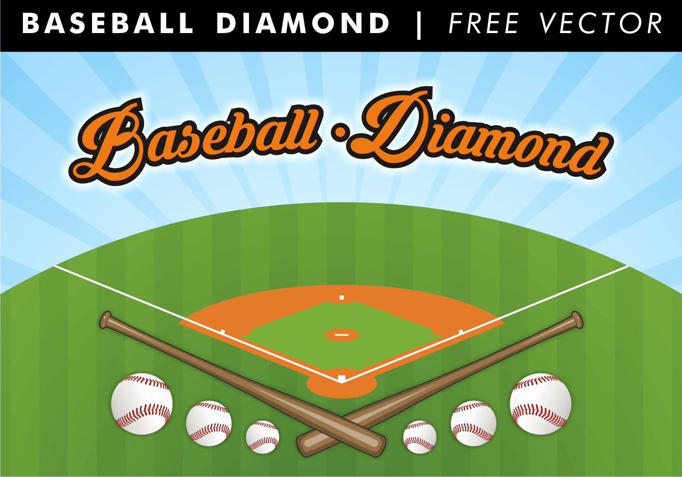 Baseball Bat Vector Free Beautiful Baseball Diamond Free Vector Download Free Vector Art Stock Graphics &